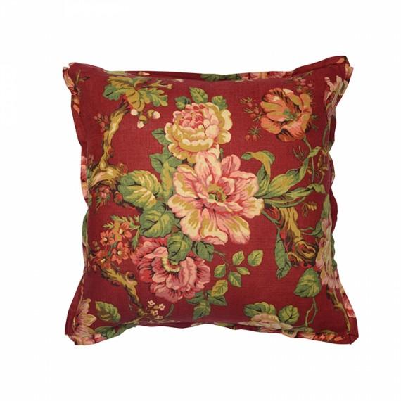 Almofada Quadrada Floral Vermelha