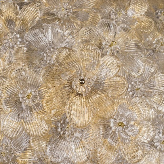 Plafond Fiore Murano Italiano Transparente com Ouro