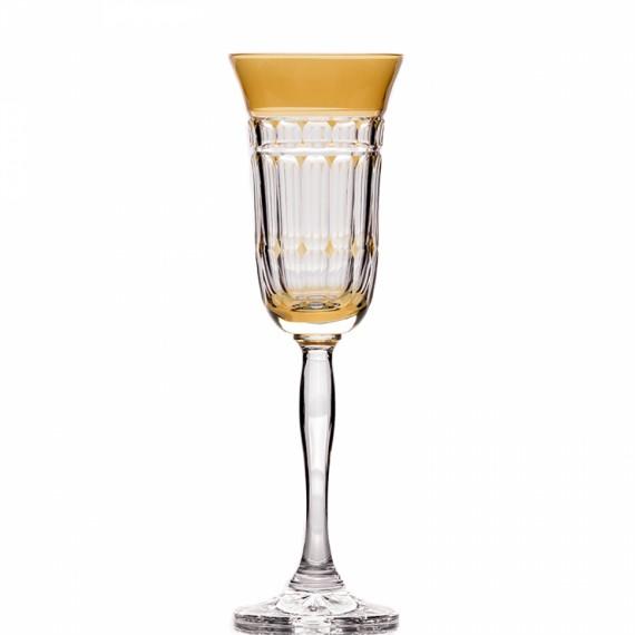 Taça Champagne Catarina Amarelo Gold Cristal