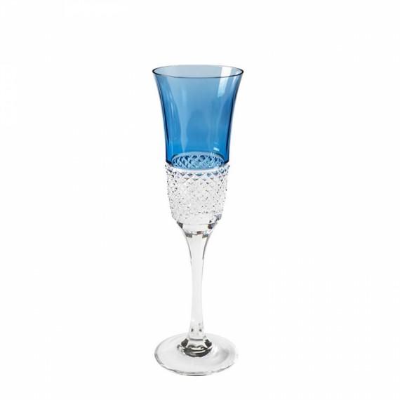 Taça Champagne Diamante Strauss Azul Claro Cristal
