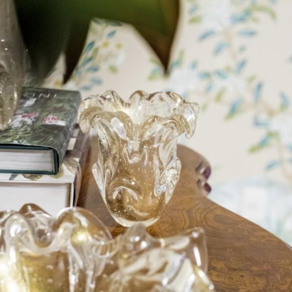 Vaso Murano Sig Transparente com Ouro P