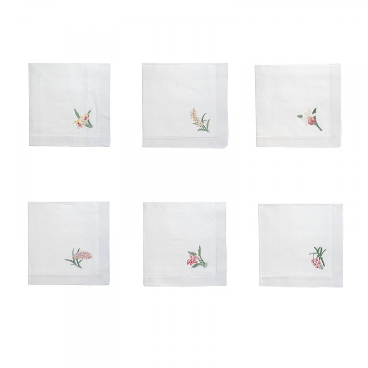 Conjunto Guardanapos Orquídeas 6 peças