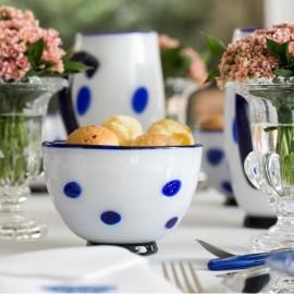 Bowl Bon Bon Branco com Pois Azul Zafferano