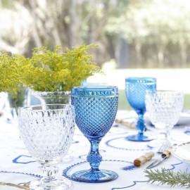 Conjunto Taças Bico de Jaca Vista Alegre Azul 6 peças