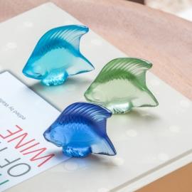 Escultura Poisson Lalique Azul Claro
