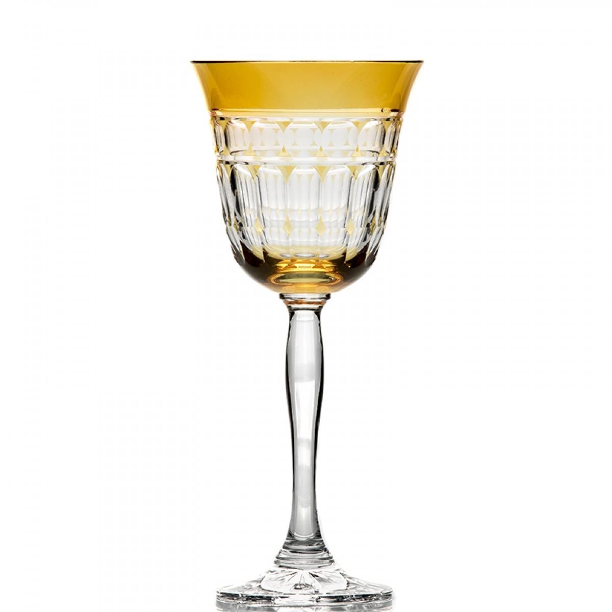 Taça Água Catarina Amarelo Gold Cristal